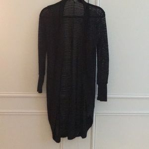 Long black lightweight knit sweater